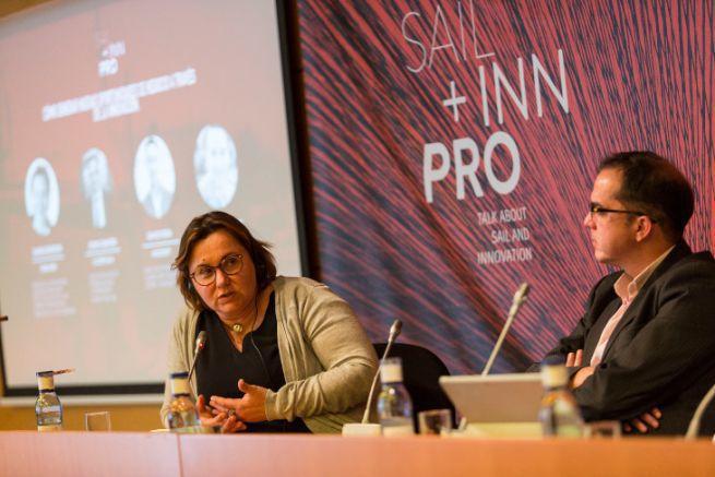 Carole Bourlon, d'Eurolarge Innovations, s'exprime au forum Sail Inn Pro